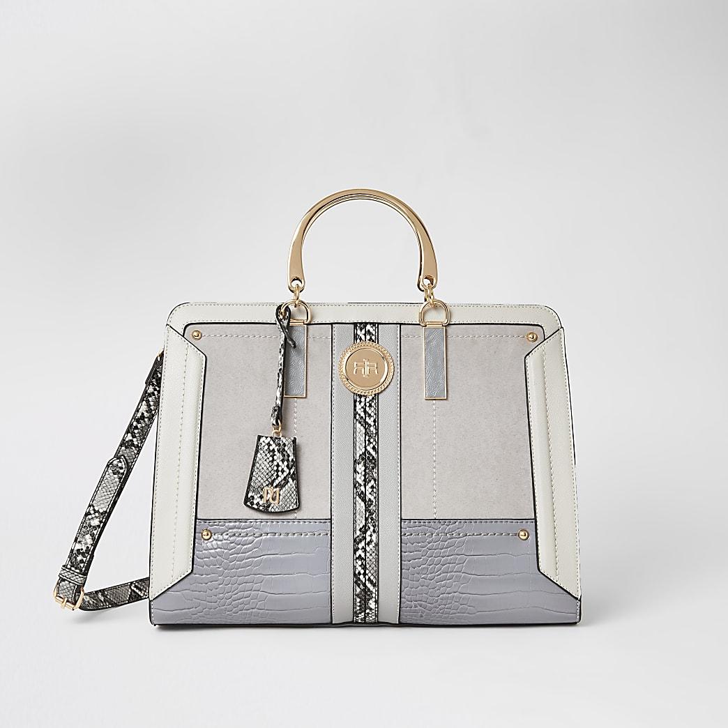 Grey snake print metal handle tote bag