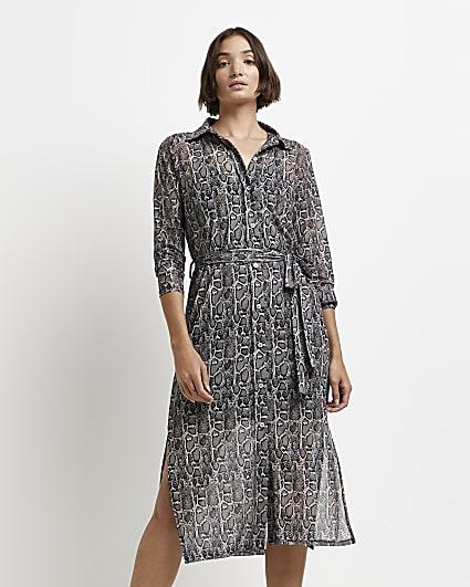Grey snake print midi shirt dress