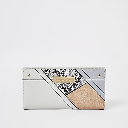 Grey snake print mix foldout purse