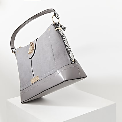 Grey snake print padlock slouch bag