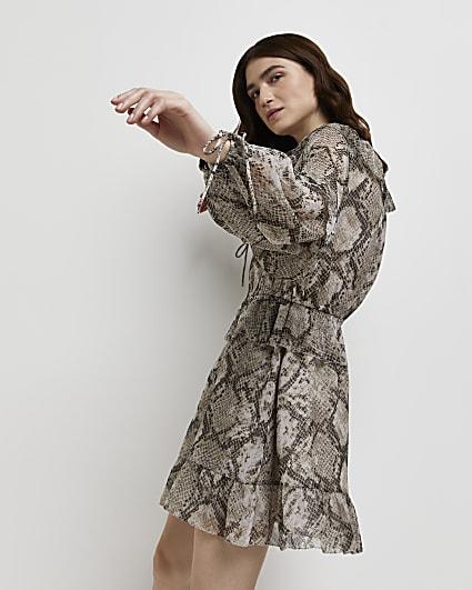 Grey snake print ruffled mini dress