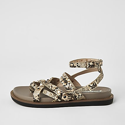Grey snake print strappy stud sandals