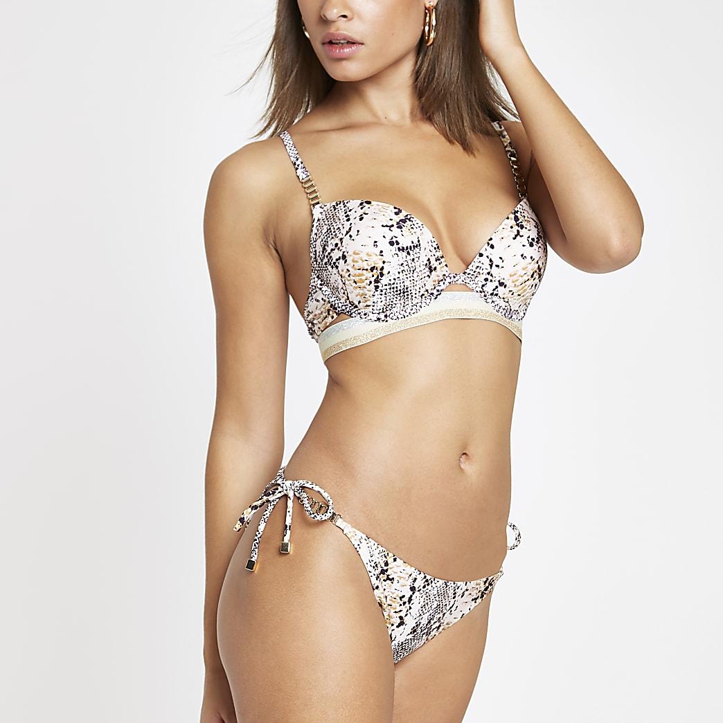 Bas de bikini à imprimé serpent gris noué sur les côtés
