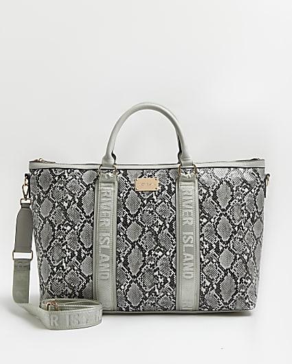Grey snake print weekend bag