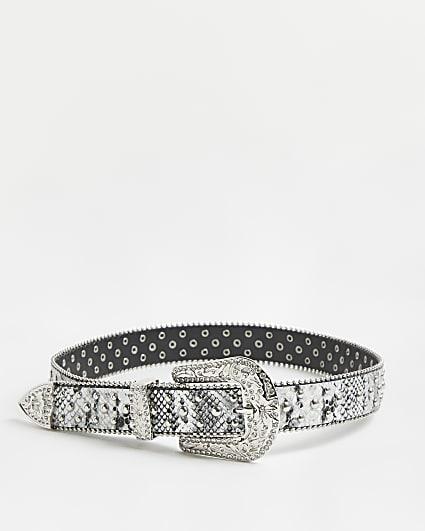 Grey snake print western buckle belt