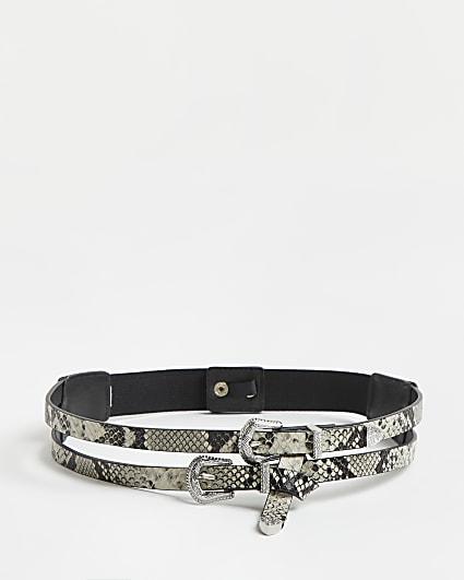 Grey snake print western double buckle belt