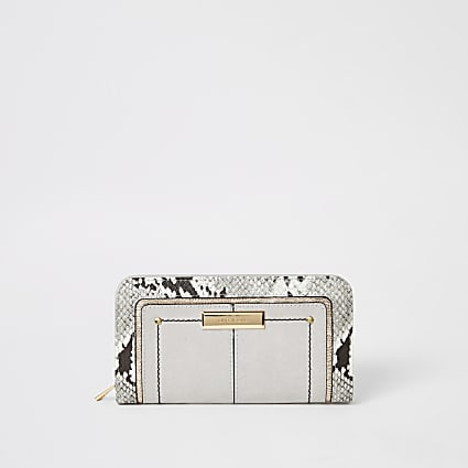 Grey snake print zip around purse