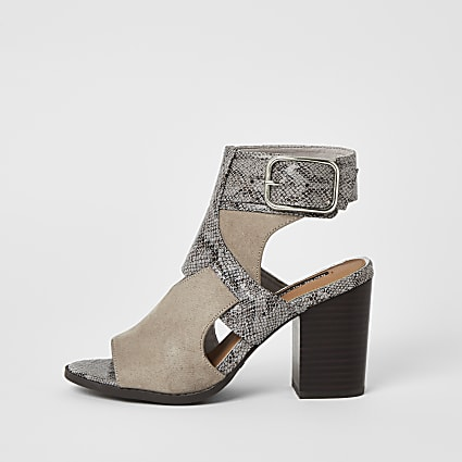 Grey snake printed cut out shoe boots