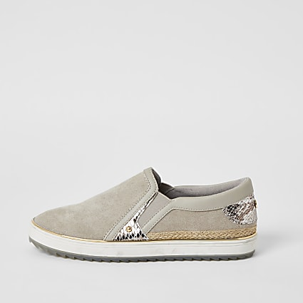 Grey snake printed slip on trainers