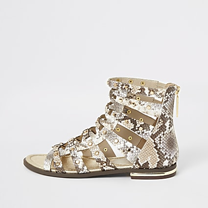Grey snake printed studded gladiator sandals
