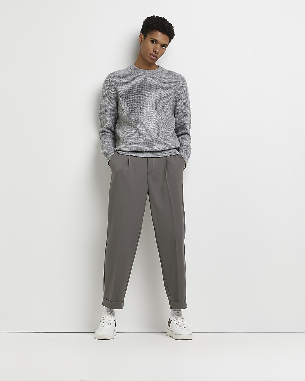 Grey soft touch slim fit waffle jumper