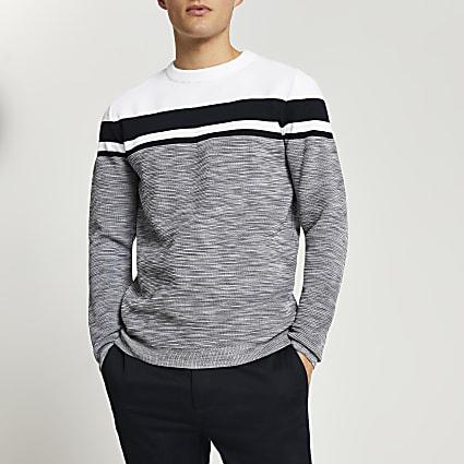Grey spacedye crew neck jumper
