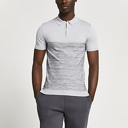 Grey spacedye muscle fit knitted polo shirt