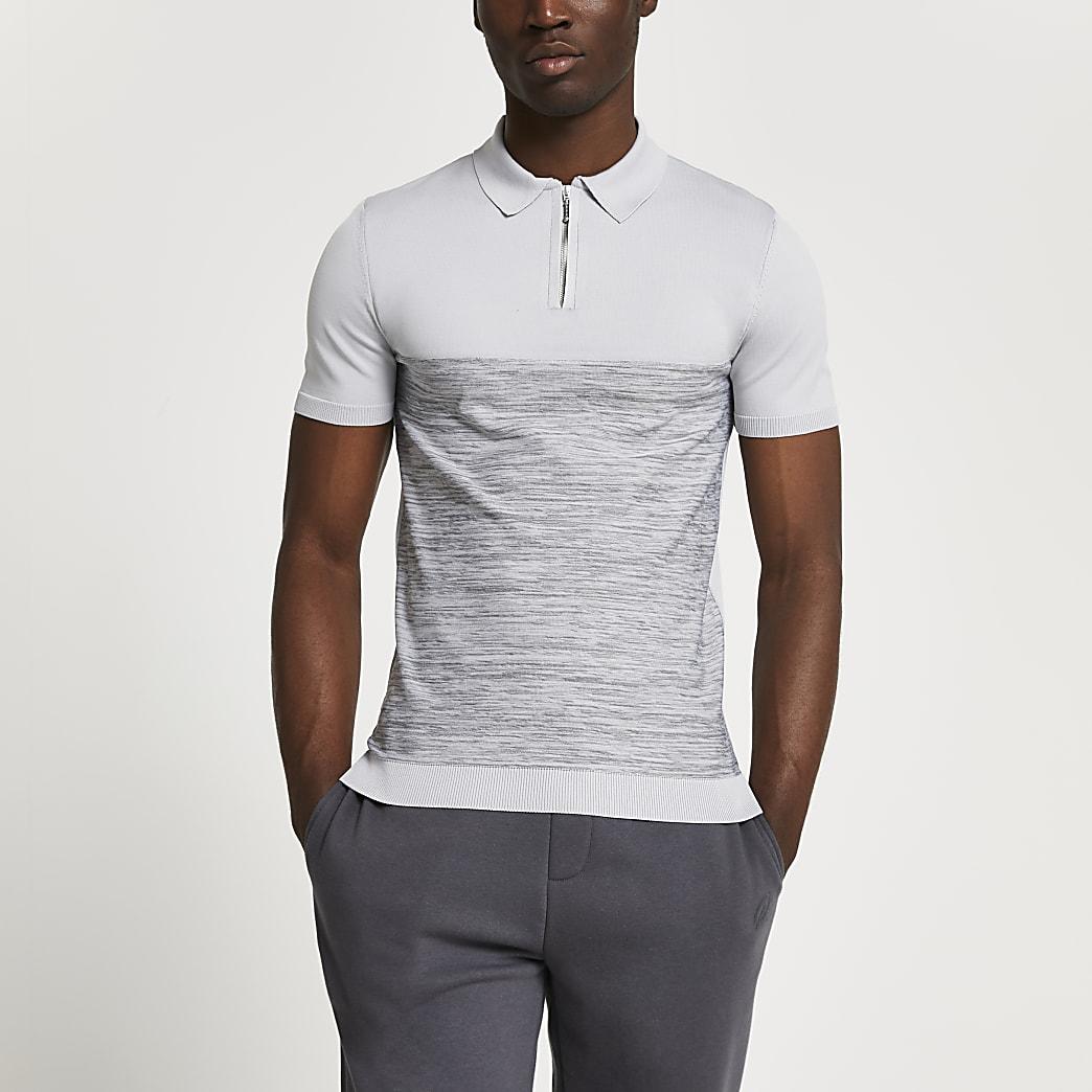 Grey spacedye muscle short sleeve polo shirt