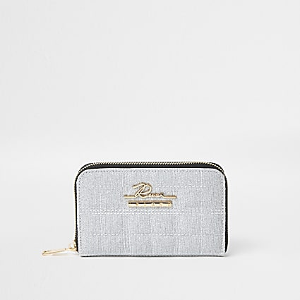 Grey sparkle quilted zip purse