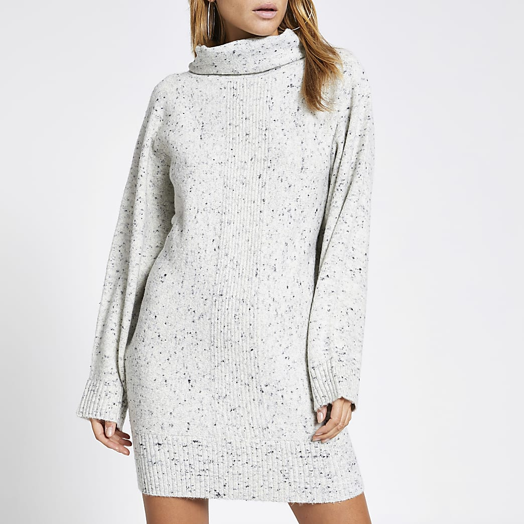 Grey speckled roll neck jumper dress