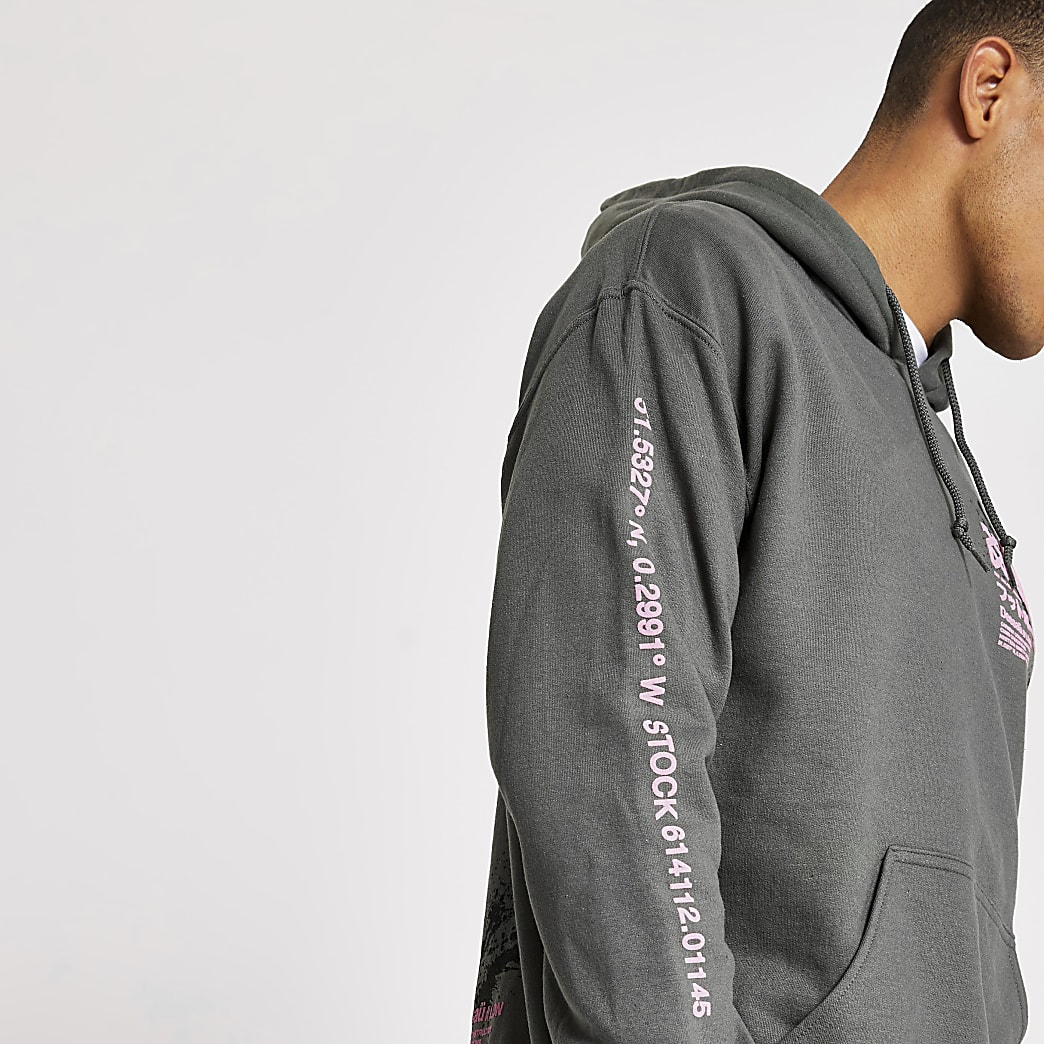 Grey splatter printed long sleeve hoodie