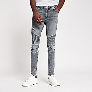 Grey spray on biker jean