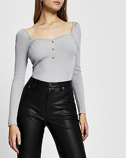 Grey square neck fitted long sleeve top