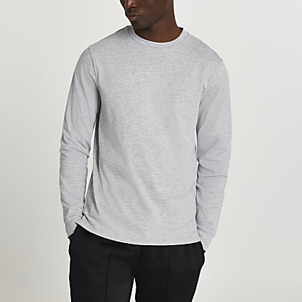 Grey stepped hem cuff slim fit t-shirt