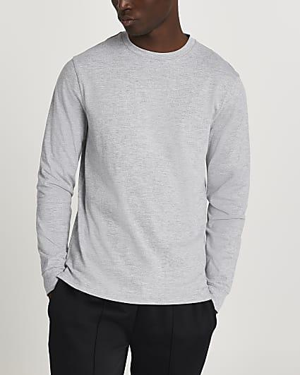 Grey stepped hem cuff slim fit t-shirt