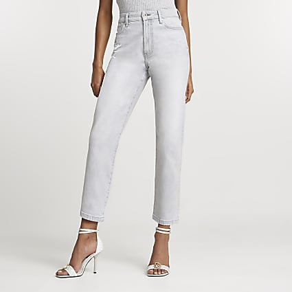 Grey straight leg high rise jeans