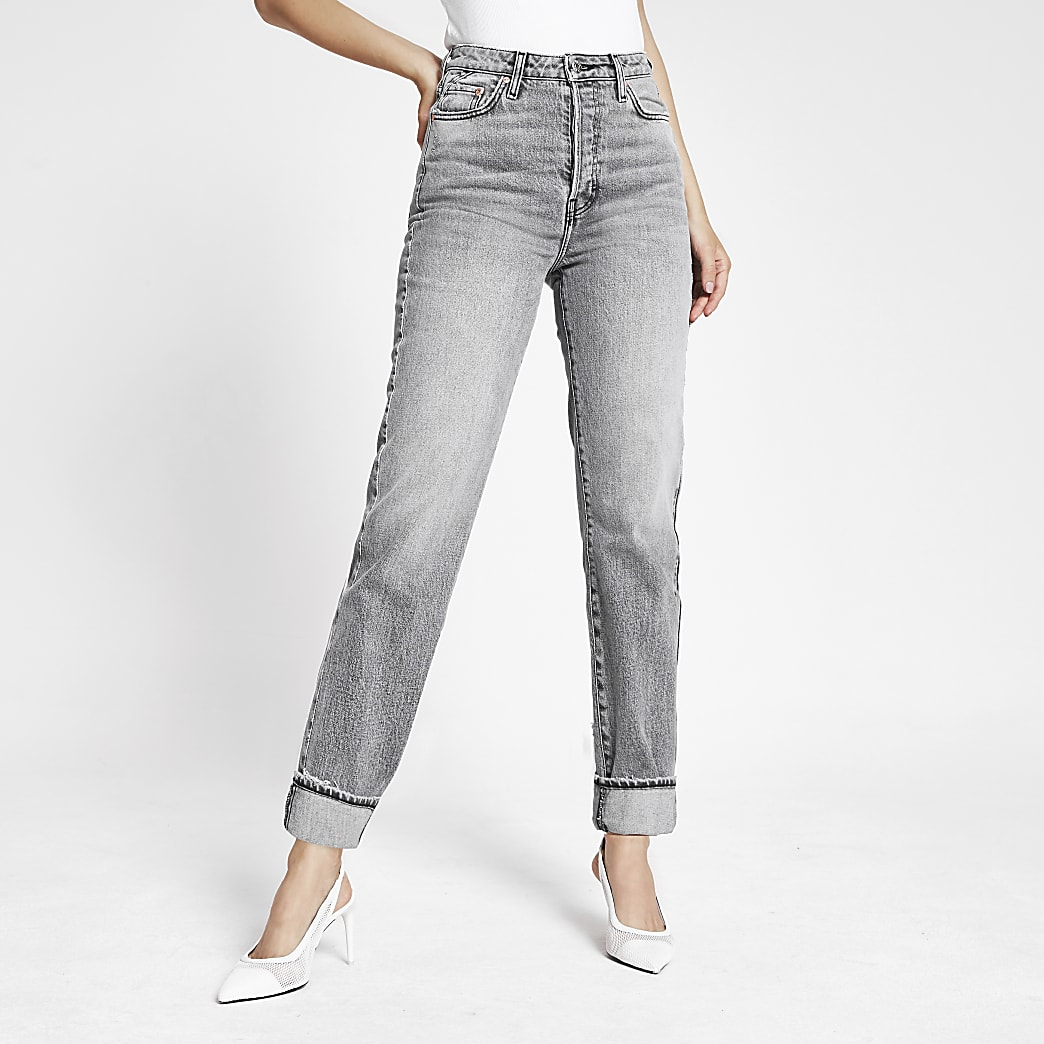 Grey straight leg super high waist jeans