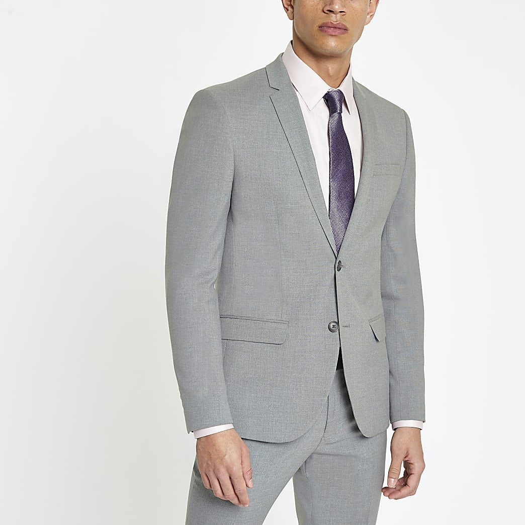 Grey stretch skinny fit suit jacket