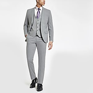 Grey stretch skinny fit suit trousers