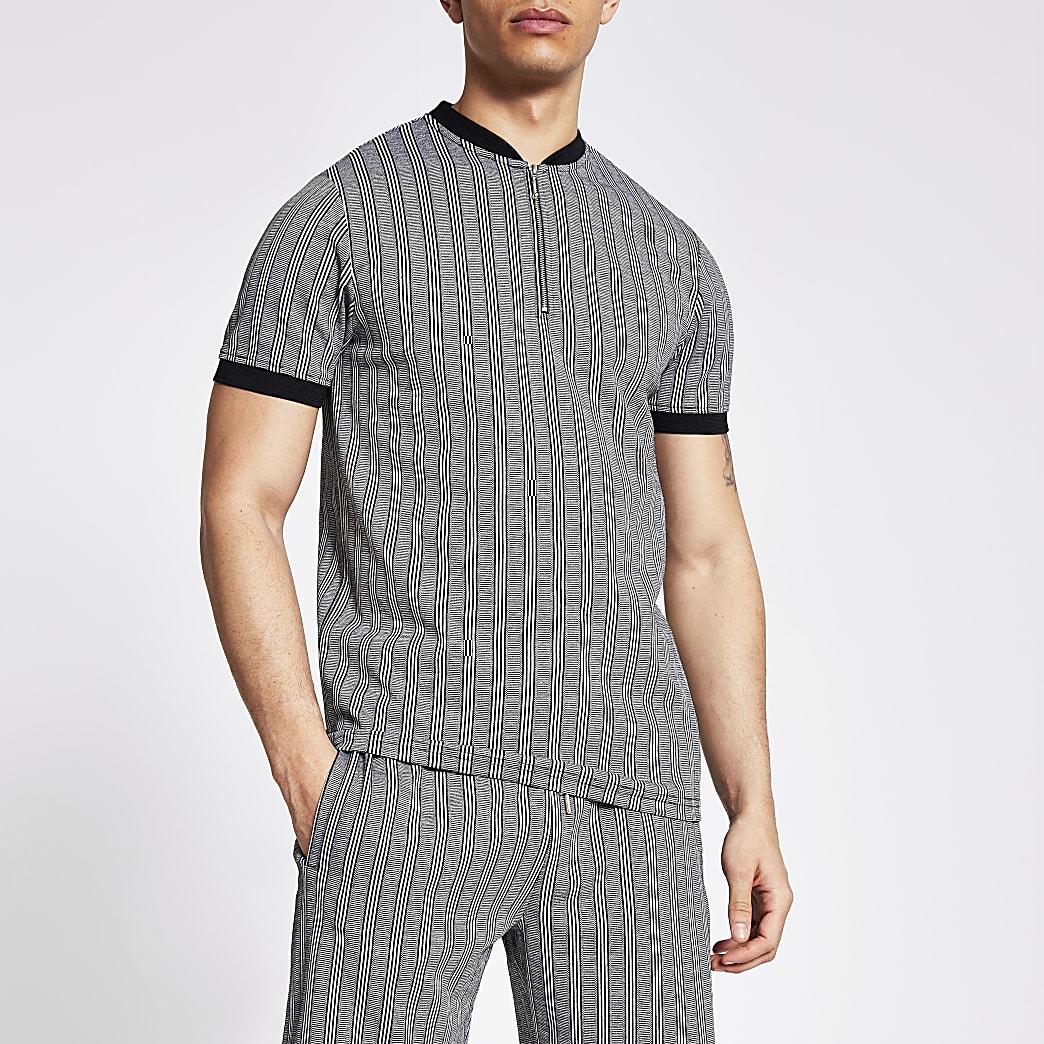 Grey stripe baseball neck polo