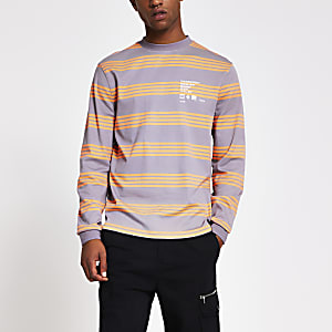Grey stripe long sleeve T-shirt