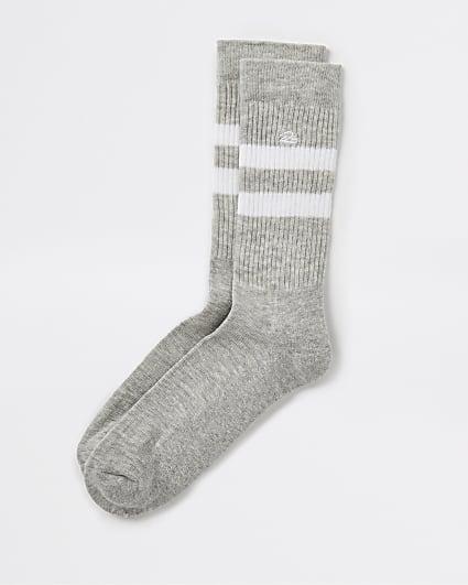 Grey stripe RI embroidered tube socks