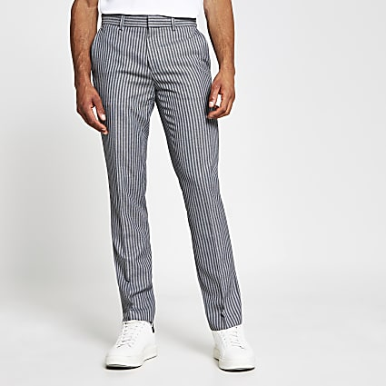 Grey stripe skinny fit trousers