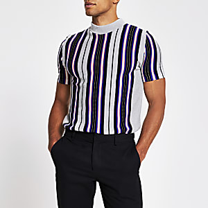 Grey stripe slim fit knitted tee