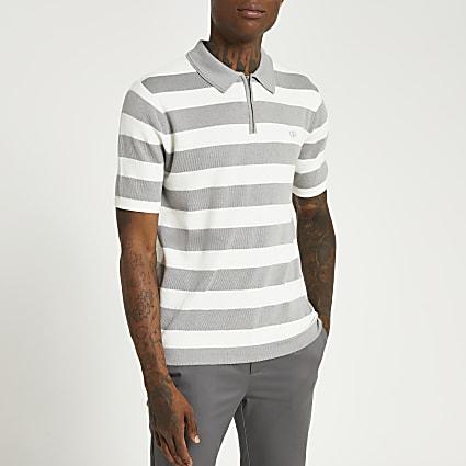 Grey stripe slim fit short sleeve polo shirt