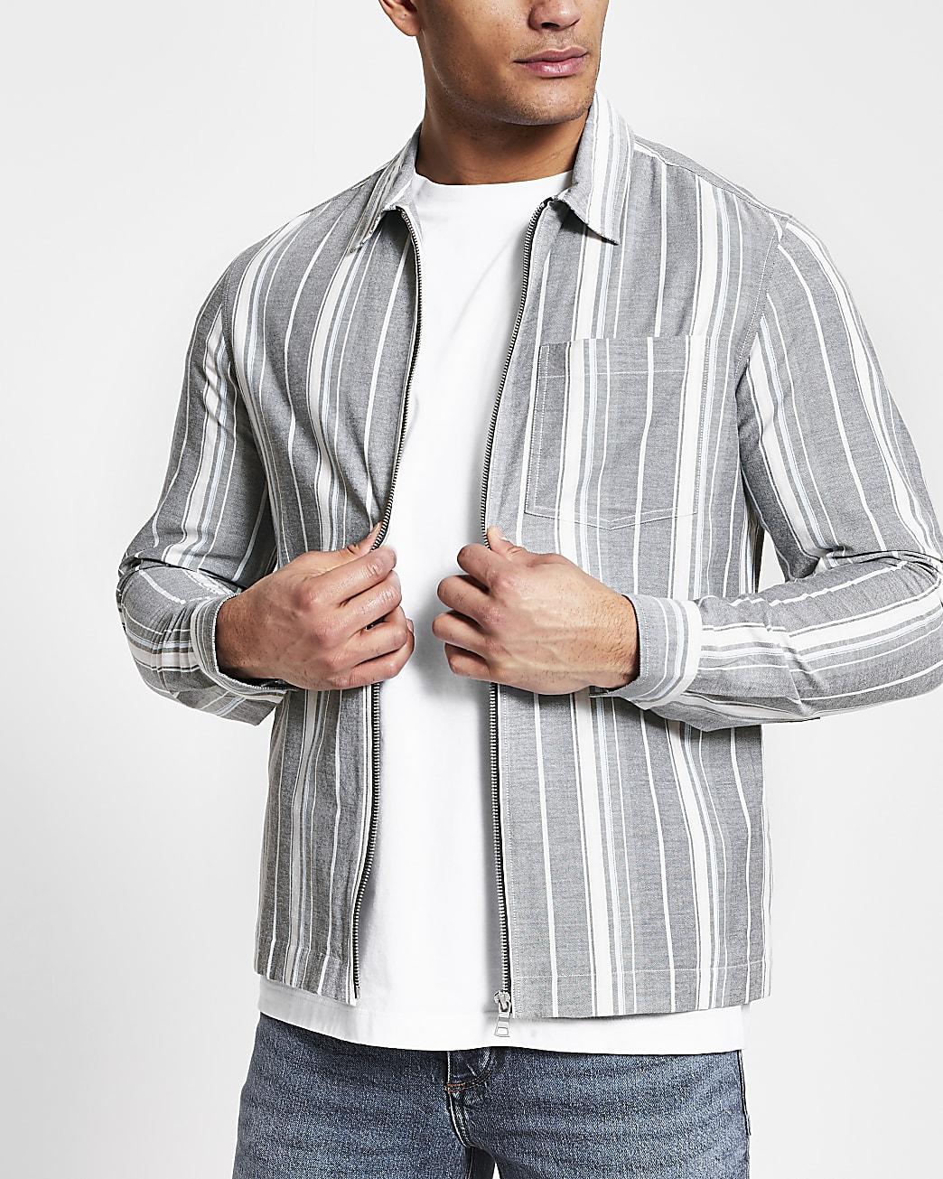 Grey stripe zip front long sleeve shacket