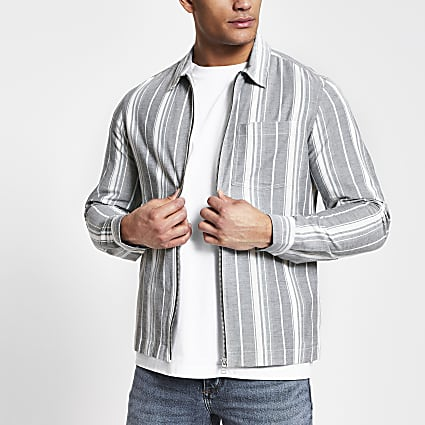 Grey stripe zip front shacket