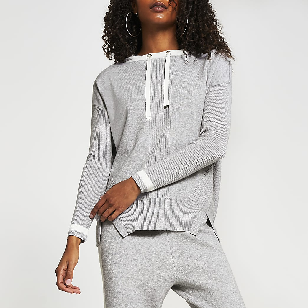 Grey striped cuff knitted hoodie