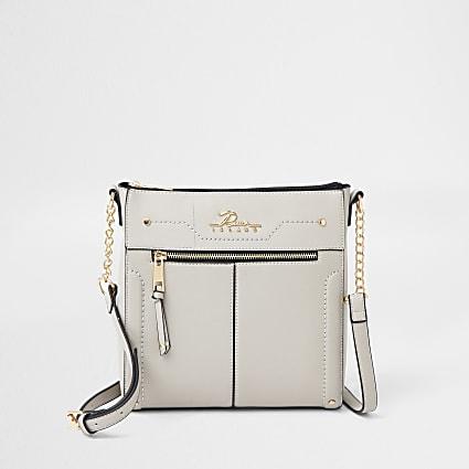 Grey structured messenger bag