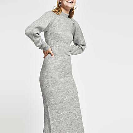 Grey structured volume sleeve knit dress