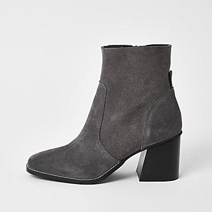 Grey suede block heel ankle boot