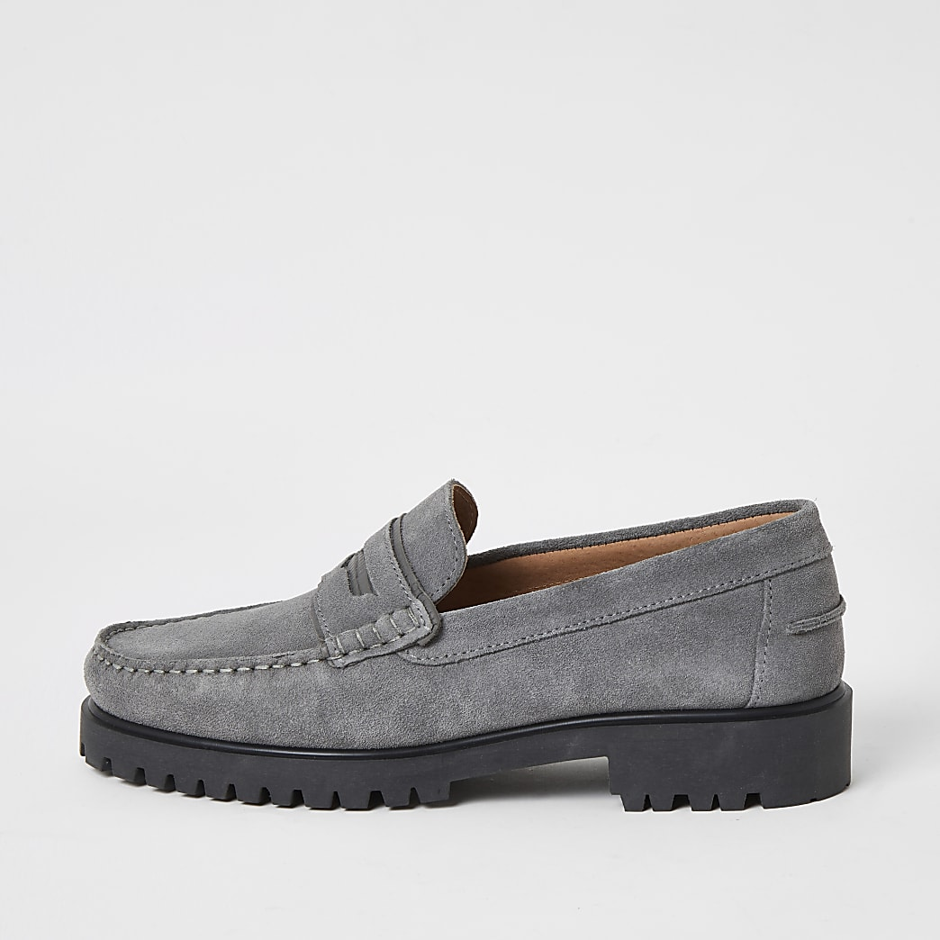 Grey suede chunky sole loafers
