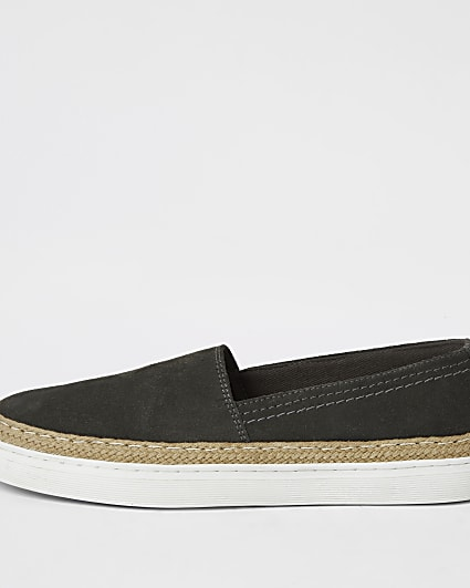 Grey suede contrast sole loafer shoes