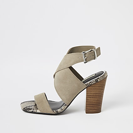 Grey suede cross strap heeled shoe boots