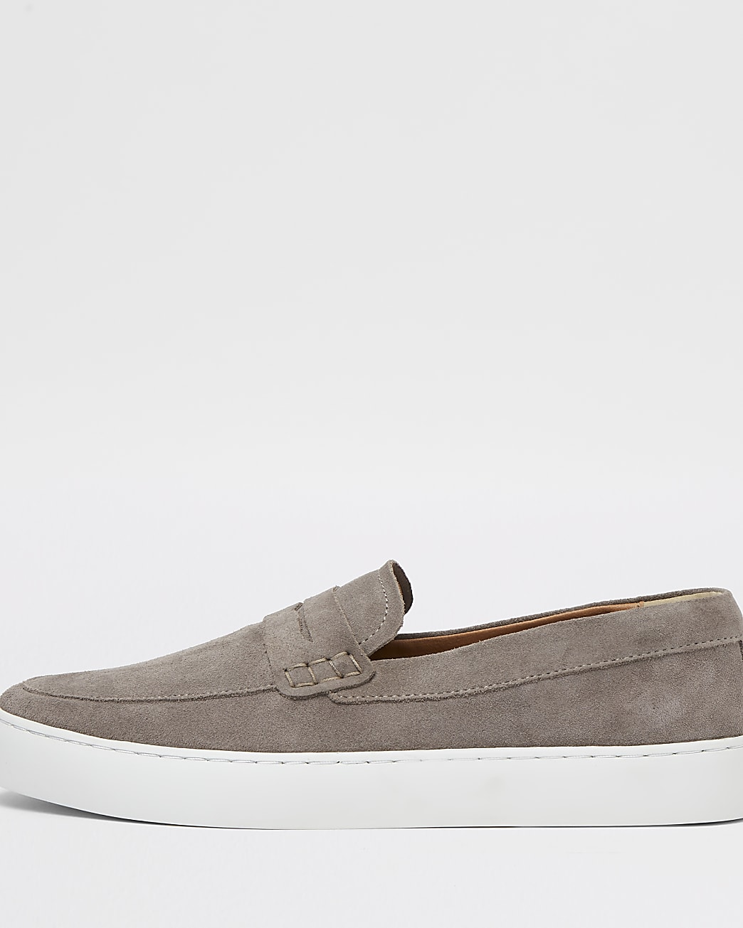 Grey suede cupsole loafer
