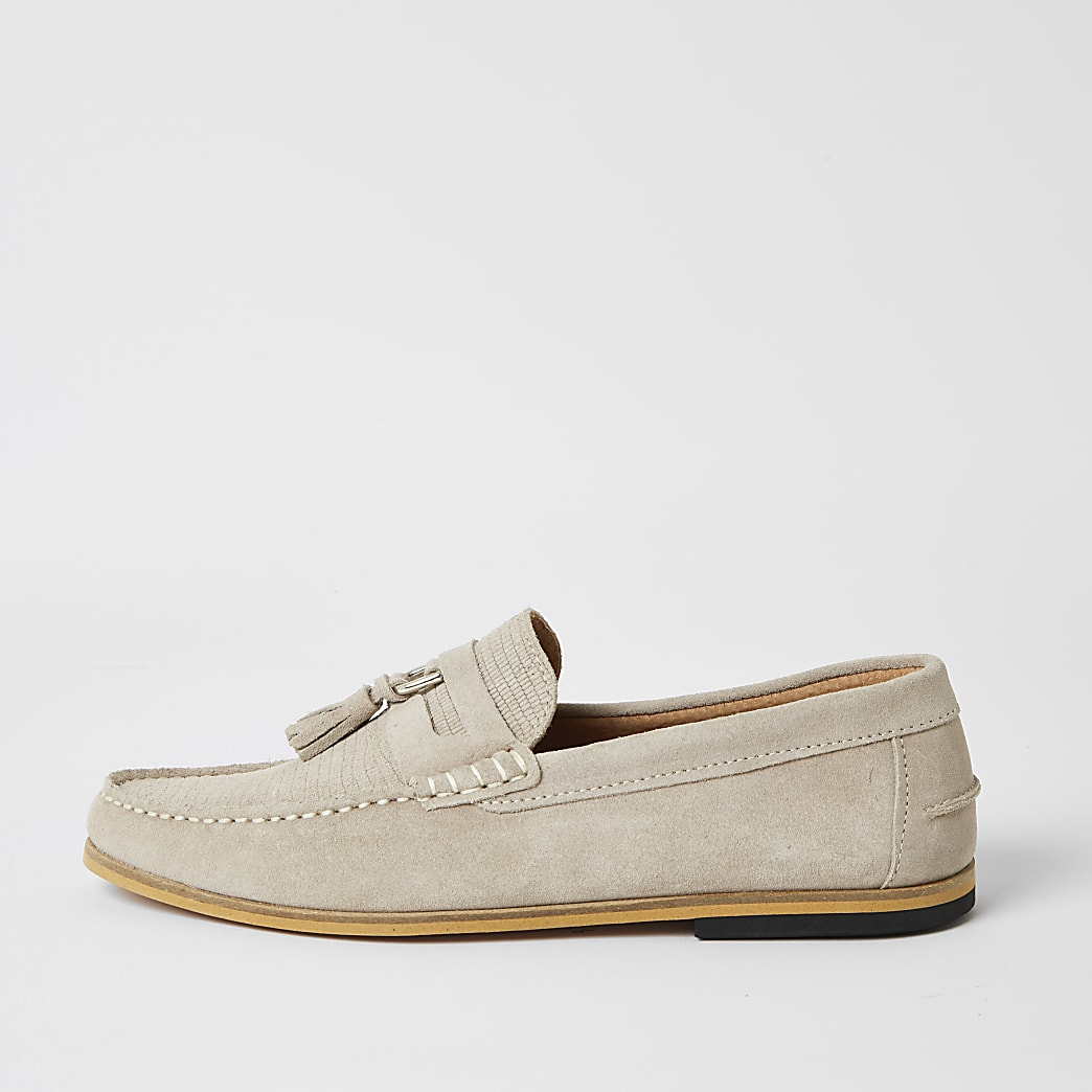 Grey suede D-ring tassel loafers