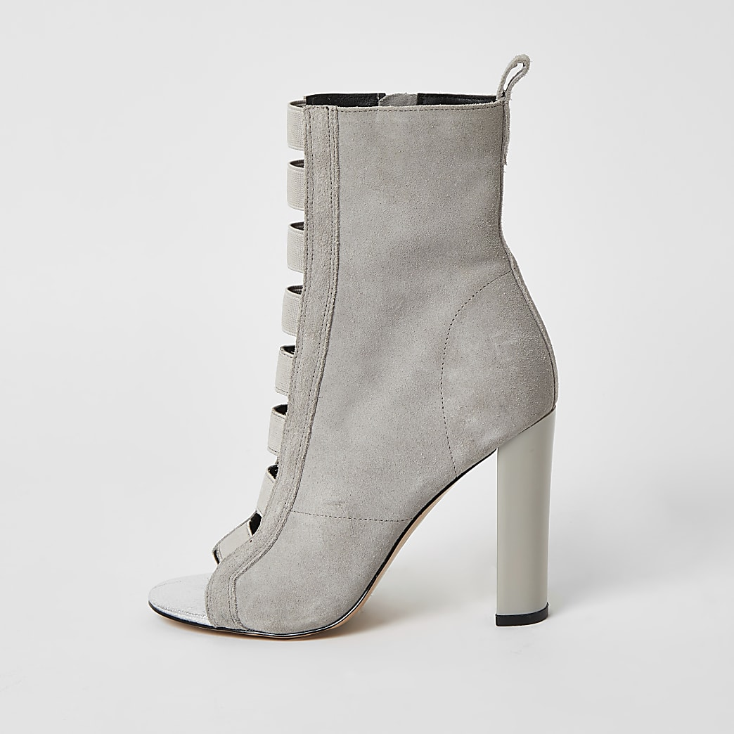 Grey suede elasticated heeled ankle boots