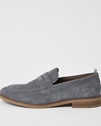 Grey suede penny loafers