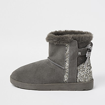 Grey suede quilted faux fur lined boots