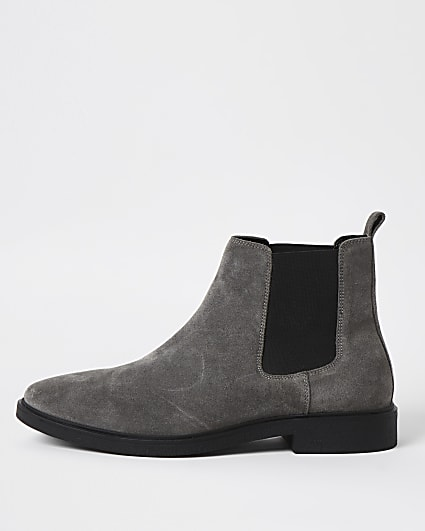 Grey suede slip on chelsea boots